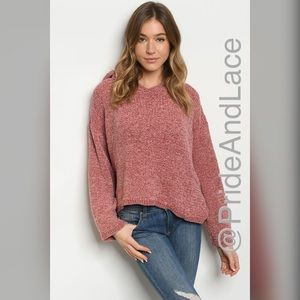 🌺Mauve Chenille Hoodie Sweater🌺